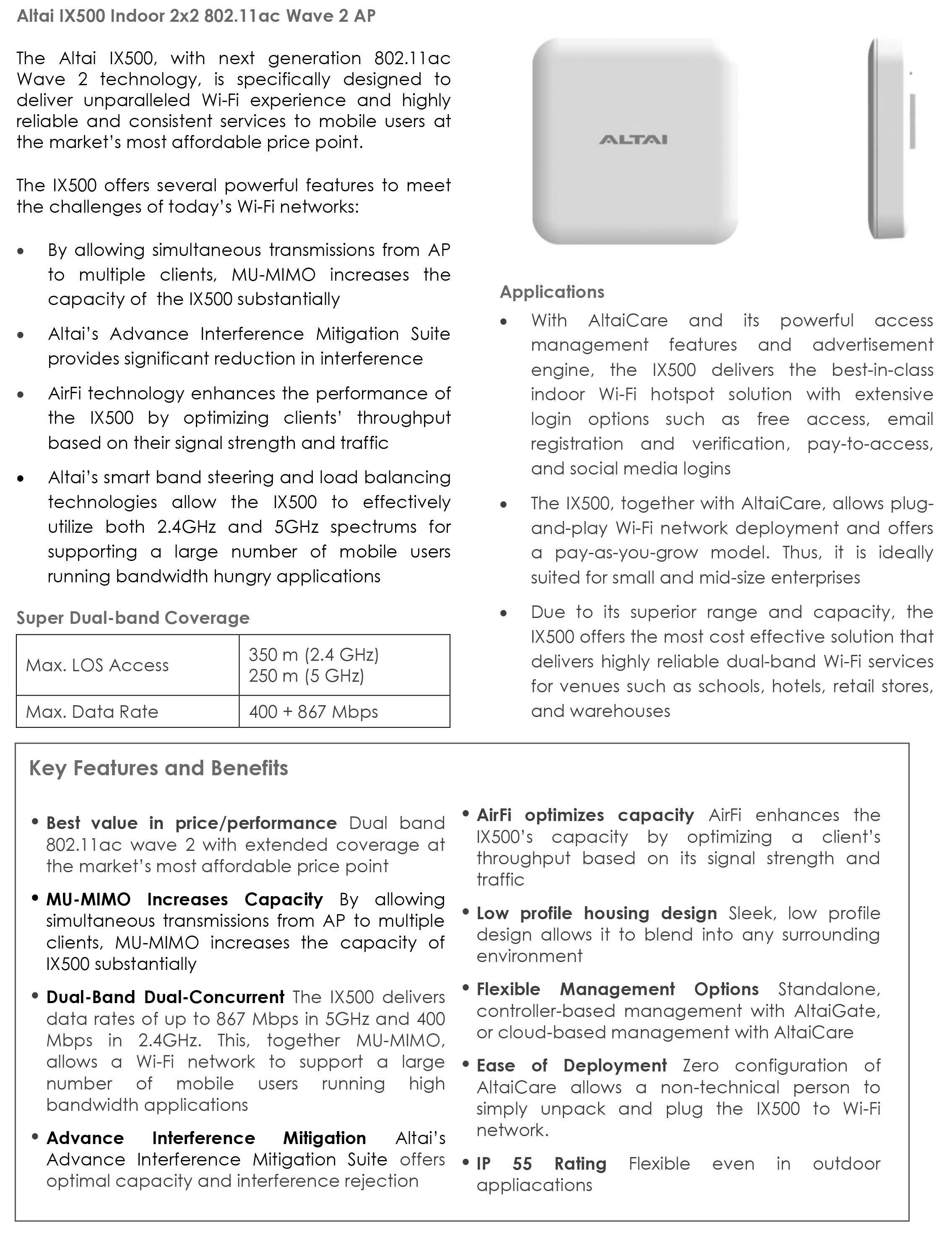 Altai IX500 Indoor 2×2 802.11ac Wave 2 AP Datasheet 1